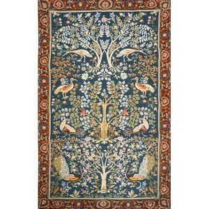 Gobelin -  Arbre, fond  bleu - archives de « Tissage d'Art de Lys » by William Morris
