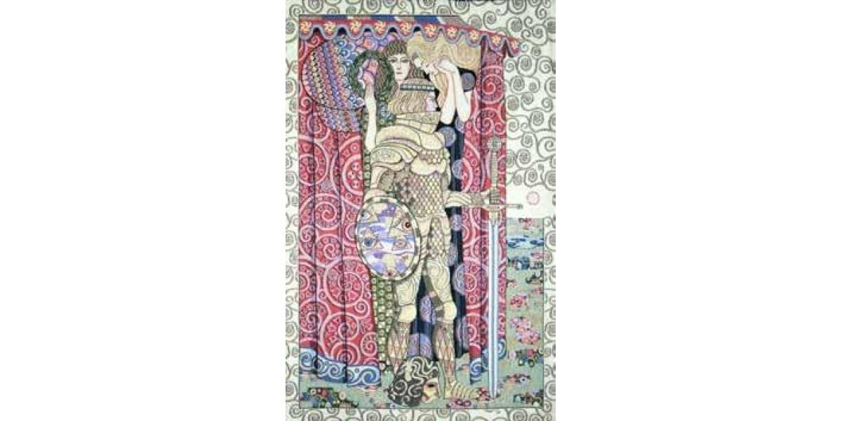 Gobelín tapiserie  - Armed Knight by Gustav Klimt