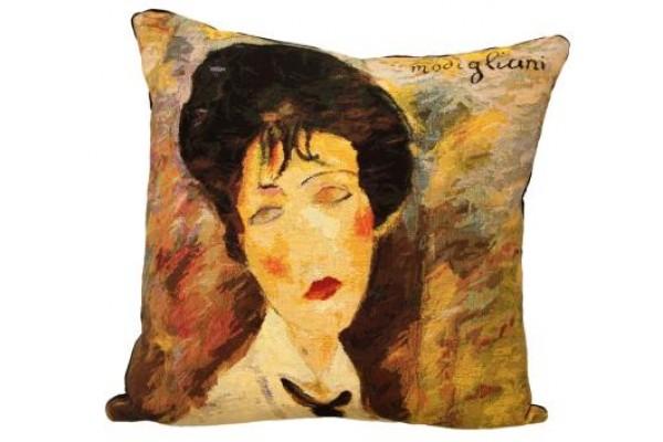 Gobelínový povlak na polštář  -  Femme à la cravate noire by AMADEO MODIGLIANI