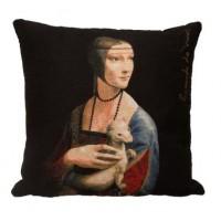 Gobelínový povlak na polštář  -  Dame à l'hermine by Leonardo Da Vinci