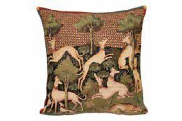 Gobelínový povlak na polštář  -  Lévriers by  Duc de Berry