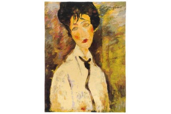 Gobelín  - Femme à la cravate noire by MODIGLIANI
