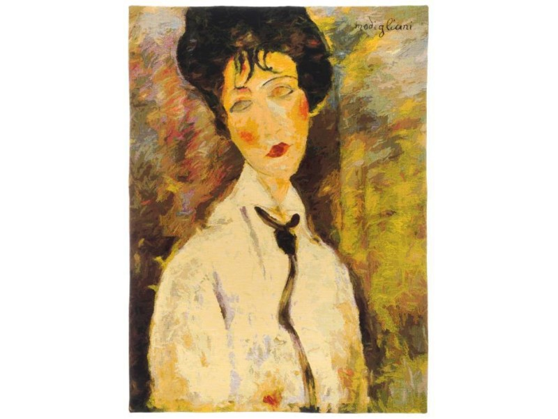 Gobelín  - Femme à la cravate noire by MODIGLIANI