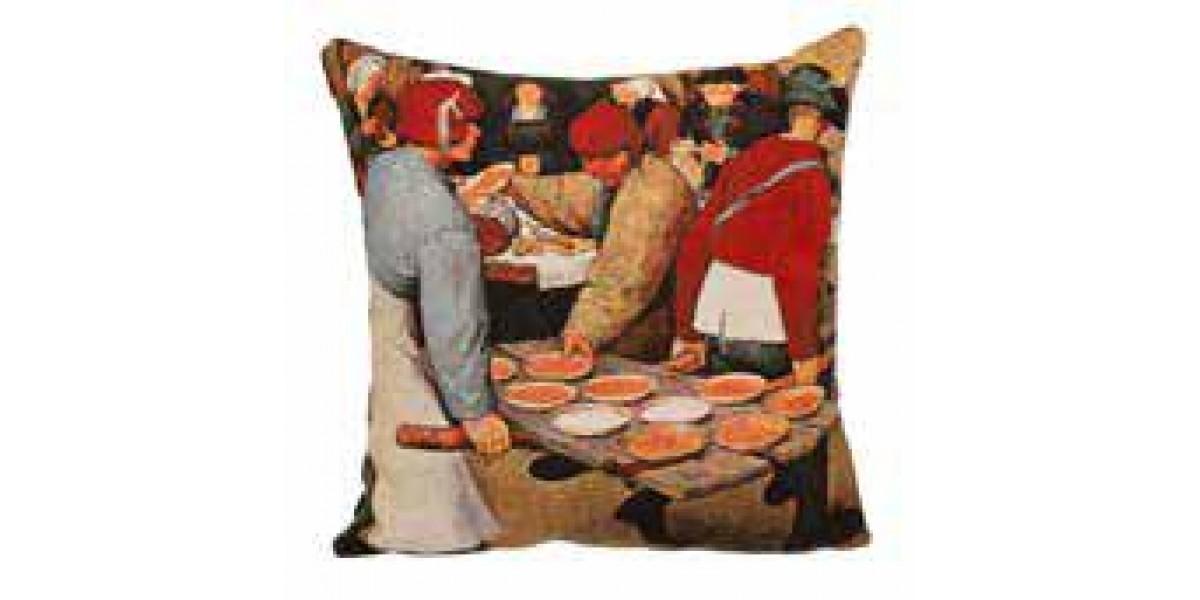 Gobelínový povlak na polštář - Le repas de noce by PIETER BRUEGEL LANCIEN II