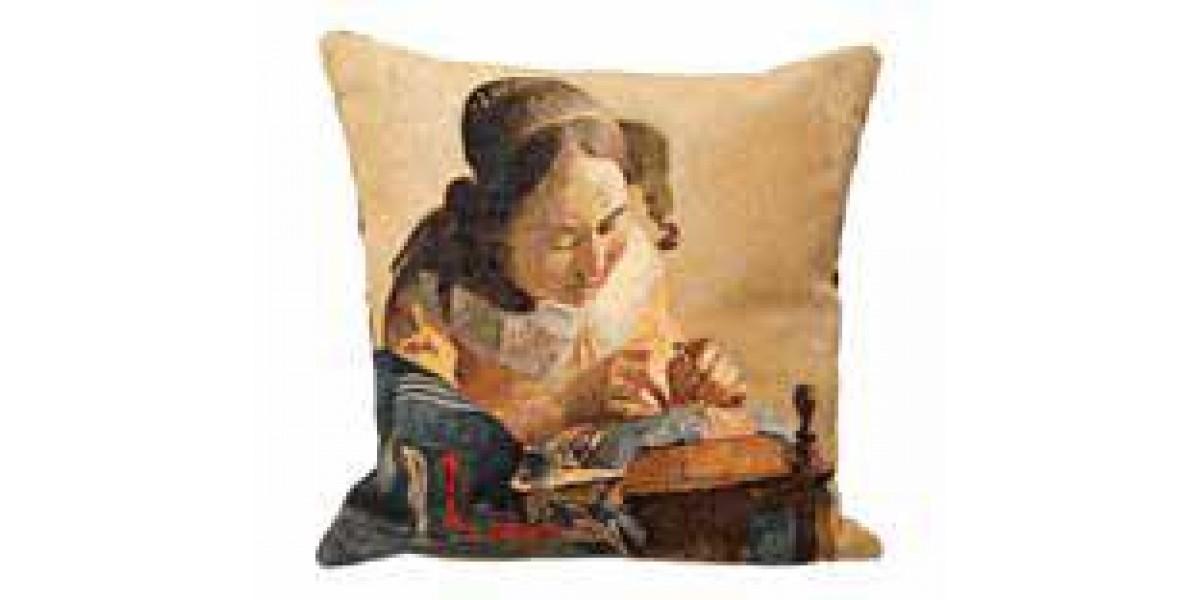Gobelínový povlak na polštář  - La Dentellière by Vermeer