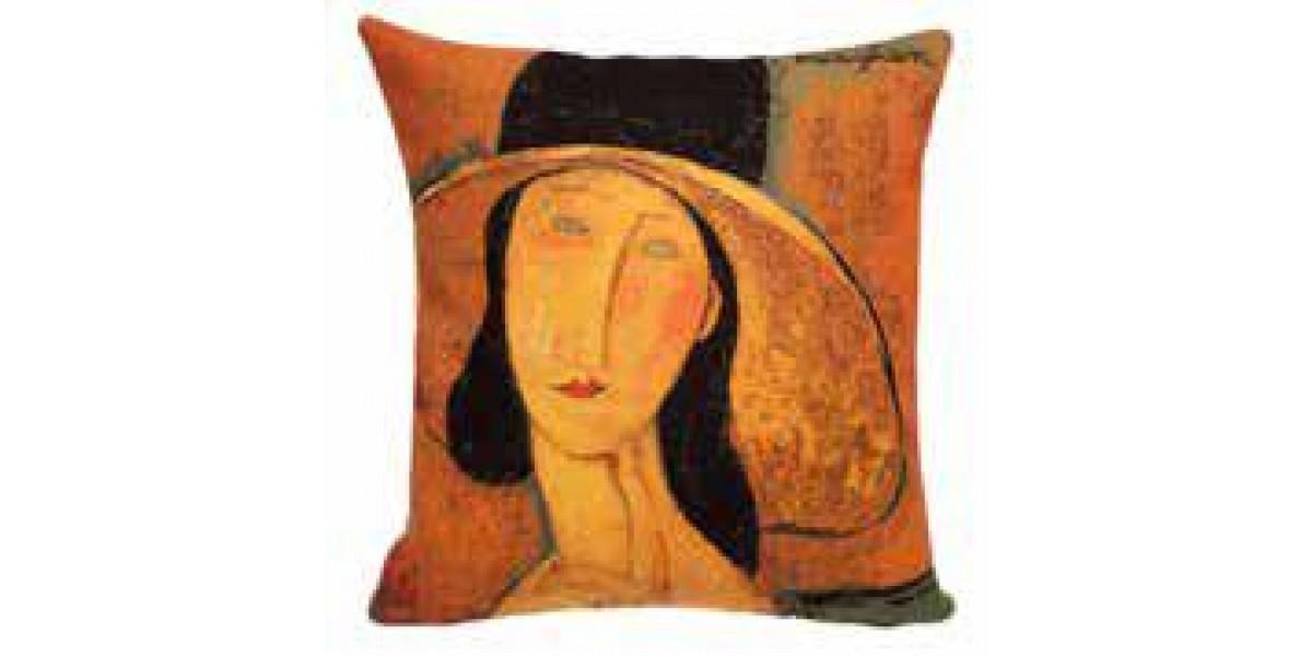 Gobelínový povlak na polštář  - Femme au chapeau by MODIGLIANI