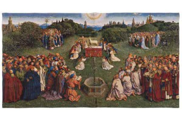 Gobelín  -  L'adoration de l'Agneau mystique by Jan van Eyck