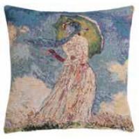 Gobelínový povlak na polštář  - Femme à l'ombrelle by Monet